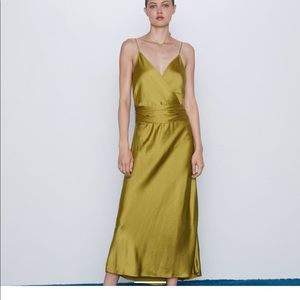 Satin green Zara dress